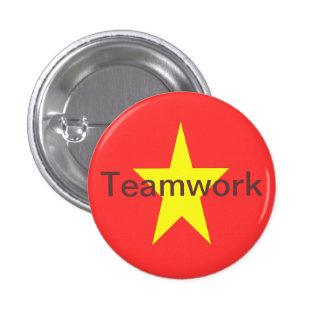 Botón del trabajo en equipo pin redondo de 1 pulgada