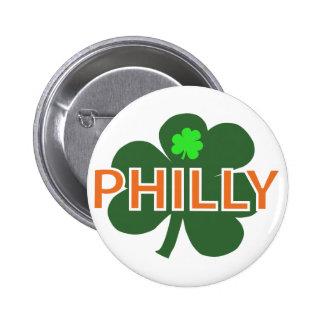 Botón del trébol de Philly Pin Redondo De 2 Pulgadas