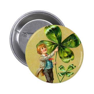 Botón del trébol del vintage pin redondo de 2 pulgadas