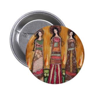 Botón del trío del santo de la bella arte pin redondo de 2 pulgadas