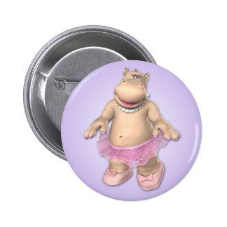 Botón del tutú del hipopótamo pin redondo de 2 pulgadas