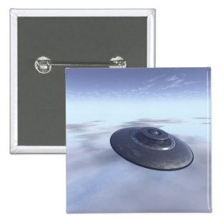 Botón del UFO en vuelo Pin Cuadrado