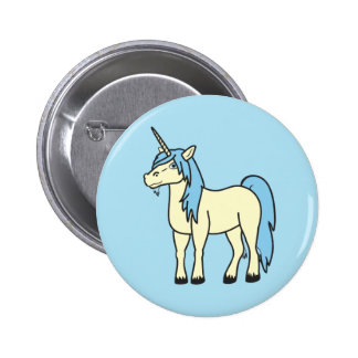 Botón del unicornio de los azules cielos pin redondo de 2 pulgadas