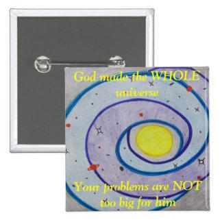 Botón del universo pin cuadrado