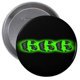 Botón del verde 666 del mal que brilla intensament pin