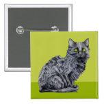 Botón del verde del gato negro pins
