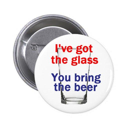 Botón del vidrio de cerveza pin redondo de 2 pulgadas