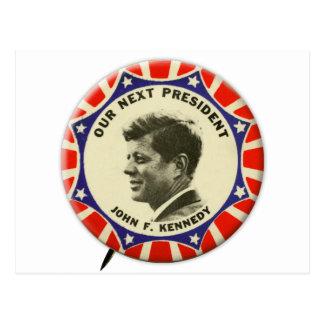 Botón del vintage JFK John Kennedy nuestro Postal