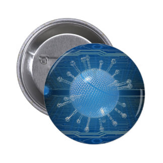 Botón del virus de ordenador pin