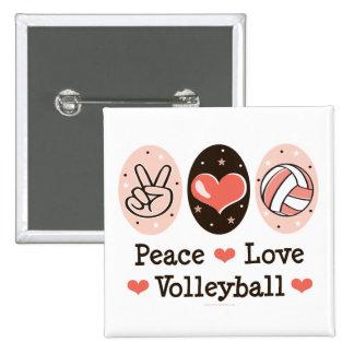Botón del voleibol del amor de la paz pin