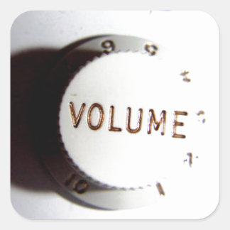 Botón del volumen de la guitarra pegatina cuadrada