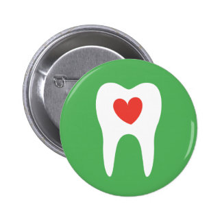 Botón dental del dentista del corazón del amor de  pin redondo de 2 pulgadas