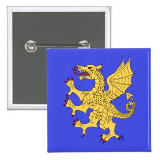 Botón desenfrenado del dragón (oro) pin cuadrado