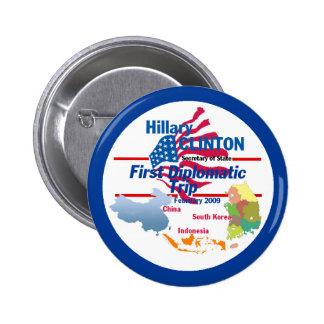 Botón diplomático de Clinton Pin Redondo De 2 Pulgadas