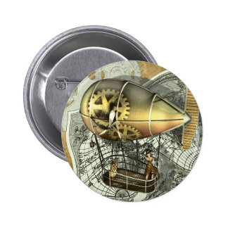 Botón dirigible del viaje del aire de Steampunk Pin