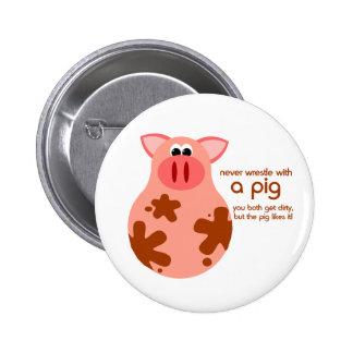 Botón divertido de la cita del cerdo pin
