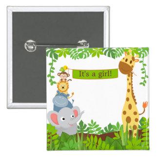 Botón divertido de los animales del bebé de la pin cuadrado