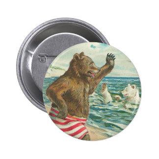 Botón divertido de los osos del Victorian Pin Redondo De 2 Pulgadas