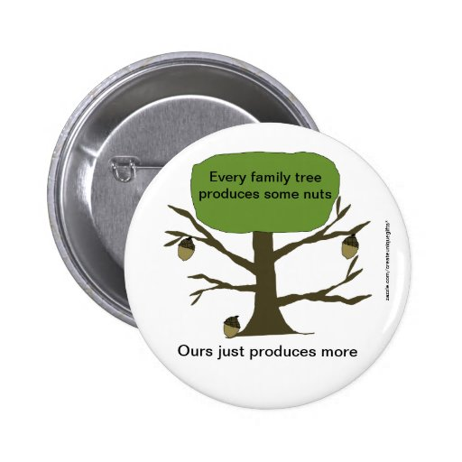 Botón divertido del árbol de nuez de la familia