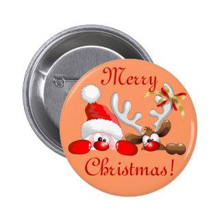 Botón divertido del dibujo animado de Santa y del  Pin Redondo De 2 Pulgadas