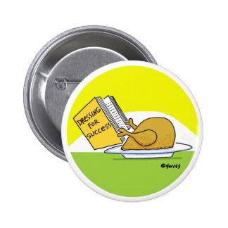 Botón divertido del dibujo animado de Turquía de Pin Redondo De 2 Pulgadas