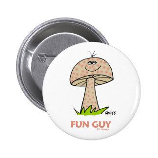 Botón divertido del dibujo animado del individuo pin redondo de 2 pulgadas