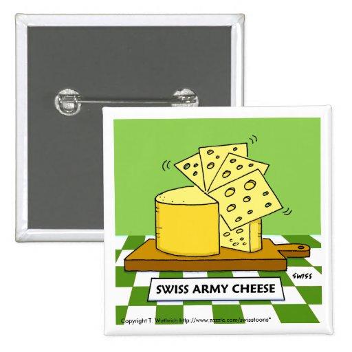 Botón divertido del dibujo animado del queso suizo