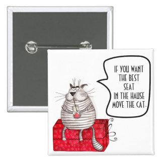 Botón divertido del gato blanco y negro pin cuadrado