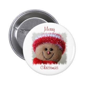 Botón divertido del navidad de la cara pin redondo de 2 pulgadas