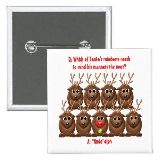 Botón divertido del navidad del reno de Santa Pin Cuadrado