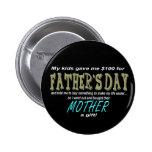 Botón divertido del negro del día de padre pin