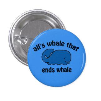 Botón divertido del reloj de la ballena pin redondo de 1 pulgada