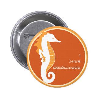 Botón divertido del Seahorse - naranja