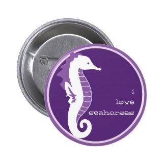 Botón divertido del Seahorse - púrpura