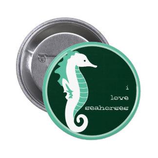 Botón divertido del Seahorse - verde