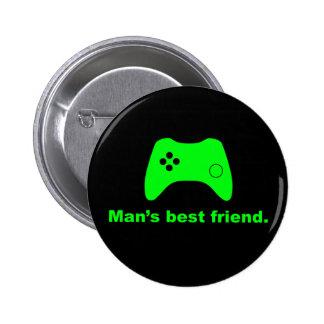 Botón divertido del videojugador del mejor amigo d pin redondo de 2 pulgadas