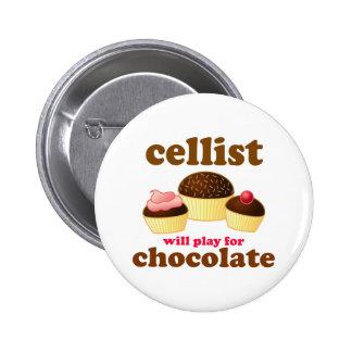 Botón divertido del violoncelo del chocolate pin redondo de 2 pulgadas