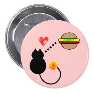 botón divertido lindo del gato del gatito del chee pin redondo de 3 pulgadas