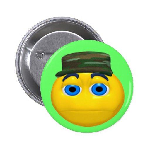 Botón divertido militar del cumpleaños de la cara pin redondo de 2 pulgadas