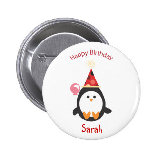 Botón dulce del cumpleaños del pingüino
