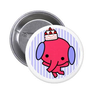 Botón - elefante de la torta - rayas azules pin