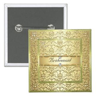 Botón elegante de la dama de honor del diamante de pin cuadrado