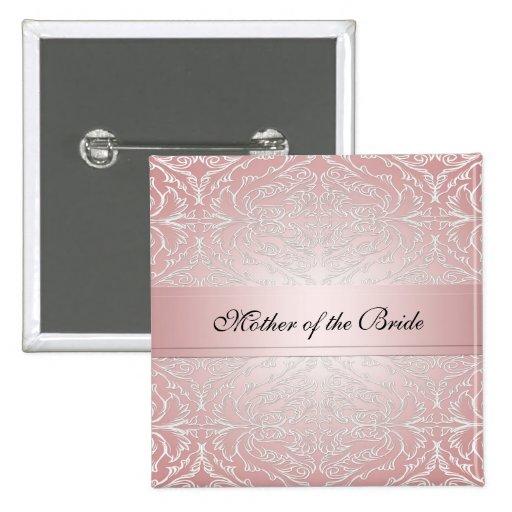 Botón elegante rosado de lujo del damasco pin