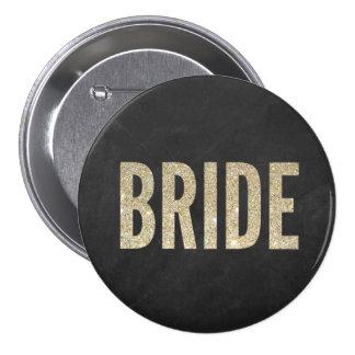 Botón elegante trémulo de la novia pin redondo de 3 pulgadas