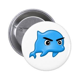 Botón enojado del delfín pin redondo de 2 pulgadas