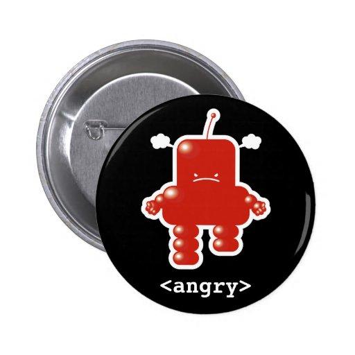Botón enojado del robot