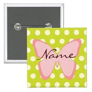 Botón enrrollado de Customizalbe de la mariposa Pin Cuadrado