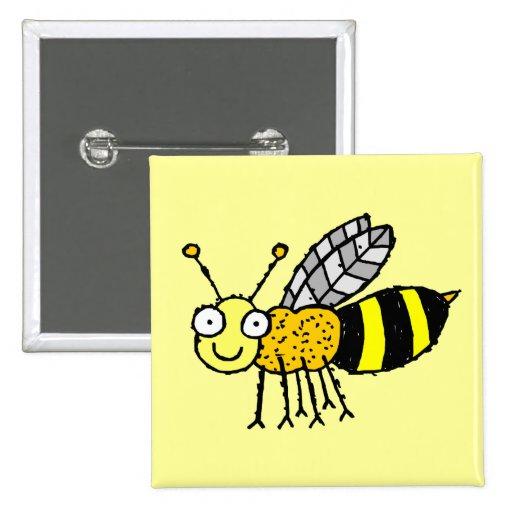 Botón enrrollado de la abeja de la miel de la gran pin cuadrado