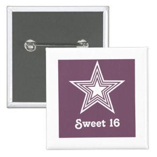 Botón enrrollado del dulce 16 de la estrella, púrp pin cuadrado
