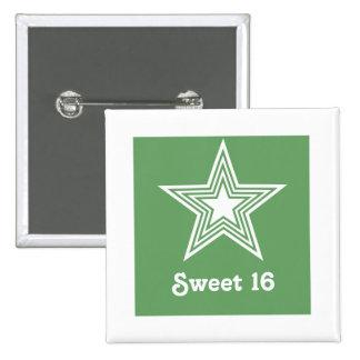 Botón enrrollado del dulce 16 de la estrella, verd pin cuadrado